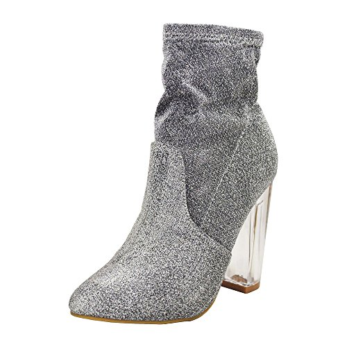 Silver Clear Chunky 01S Bamboo Womens Sfs Heeled Ankle Boots NightFall Metallic Foiled Xr5qYOnvqw