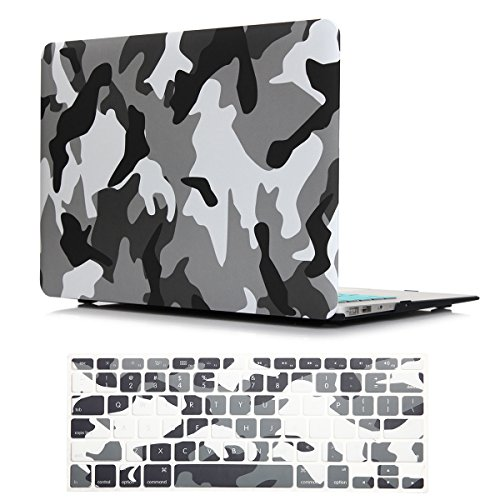 PapyHall Color Printing Plastic Protective Hard Case & Keyboard Cover for MacBook Air 13 inch Model: A1466/A1369 (TZ-Camouflage Gray) ()