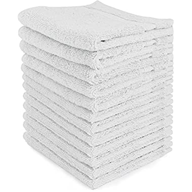 Luxury Cotton Washcloths (12-Pack, White Washcloths, 13x13 Inches) - Easy Care, Fingertip Towels, Facial Towelettes, Cotton Hand Towels - by Utopia Towels