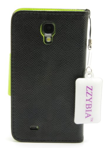 ZZYBIA® S4 LMZT Black Leatherette Case Card Holder Wallet with a Eiffel Tower Fringed Dust Plug Charm for Samsung Galaxy S4 IV I9500 I9505