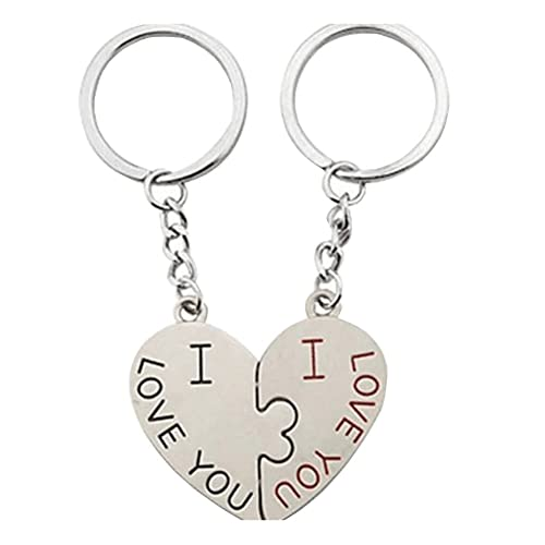 Valentine s Day Gifts I Love You Matching Heart Cute Couple Keychain 2 Pcs  Keyring Set 1ea0ee72c4