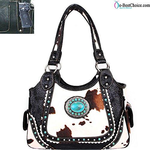 Western Handbag Cow Hair Print Conseal Gun .concho Accent Chf-1098 Red
