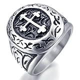 INBLUE Men's Stainless Steel Ring Silver Tone Black Cross Oval Size10