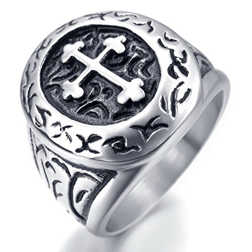 INBLUE Men's Stainless Steel Ring Silver Tone Black Cross Oval Size7