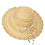 Janey&Rubbins Women Summer Packable Travel Beach Straw Hat - Hollow Woven Floppy Wide Brim Sun Cap (Tan)