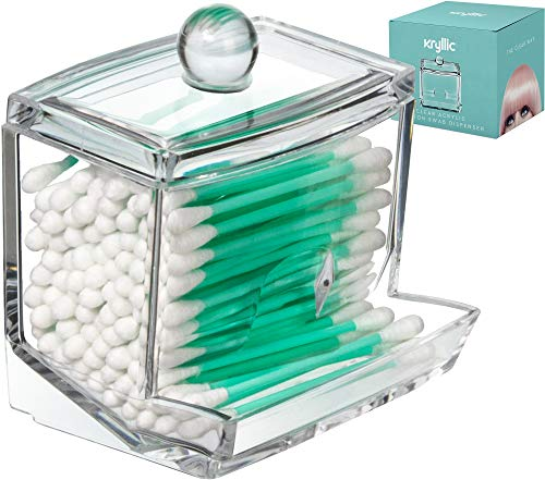 - Qtip Cotton Swab Dispenser Holder - Acrylic Apothecary Vanity countertop Organizer Box Jars for qtips Bobby pins toothpicks Cotton Balls & Any Small Health Beauty Bathroom Accessories Items Holder!