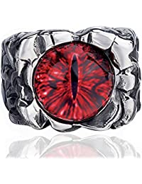 Men Stainless Steel Rings Red The Devil Eye Gothic Eyes of Hell Demon Biker Vintage Jewelry Size 8-15