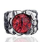 Elfasio Men's Hellfire The Devil's Eye Red Stainless Steel Ring Biker Jewelry Size 10