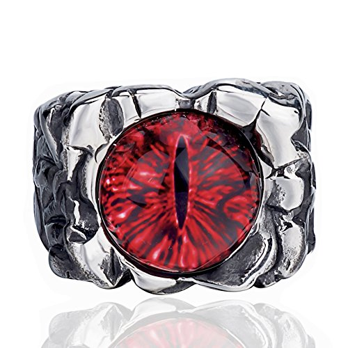 Elfasio Men Stainless Steel Rings Red The Devil Eye Gothic Biker Jewelry Size 8-13