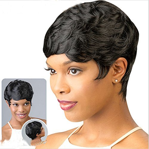 Search : Short Pixie Cut Hair Short Wavy Hair Styles Fashion Synthetic Wigs For Black Women Short Wigs For African Americans