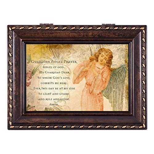 Cottage Garden Guardian Angel Prayer Be at My Side Burlwood Rope Trim Jewelry Music Box Plays Canon in D