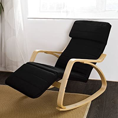 SoBuy Comfortable Relax Rocking Chair with Foot Rest Design, Lounge Chair, Recliners Poly-cotton Fabric Cushion FST16-SCH,Black Color