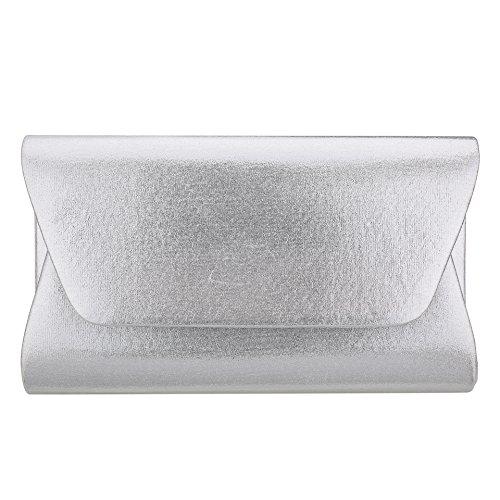 Women Envelope Evening Bag Clutches HandBag , WALLYN'S Flap Dazzling Shouder Bags Wedding Purse with Detachable Chain (Clutch Silver Leather Handbags)