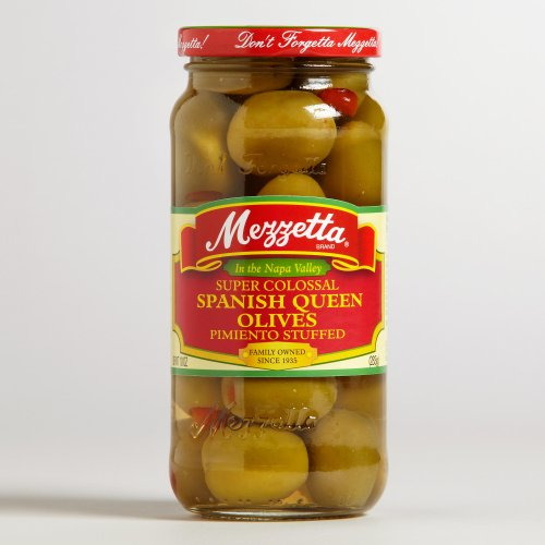 Mezzetta Super Colossal Spanish Queen Olives Pimienta Stuffed, 10 Oz (Pack of 2)