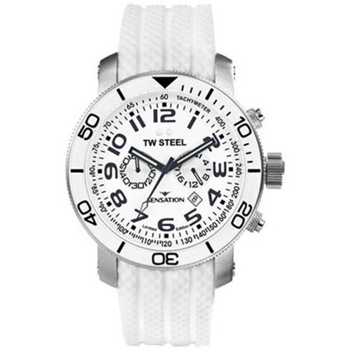Toy Watch White Dial SS Silicone Chronograph Quartz Men's Watch TW834