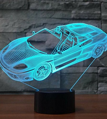 (3D Racing Car Night Light Table Desk Optical Illusion Lamps 7 Color Changing Lights LED Table Lamp Xmas Home Love Brithday Children Kids Decor Toy Gift)
