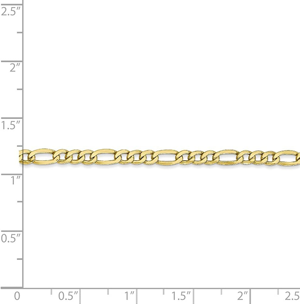 10k Yellow Gold 3.5mm Figaro Chain Necklace Lobster Clasp