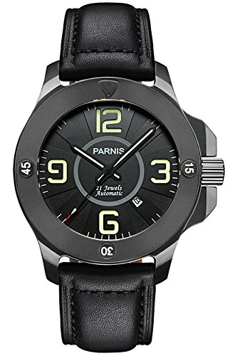 Gosasa Big Dial Commander Seriers Luminous Mens Sapphire Glass Leather Strap Military Sport Automatic Mechanical Watch Wristwatch (Black)