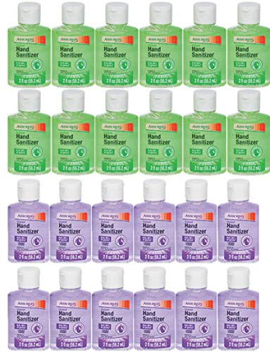 Instant Foot Sanitizer - Assured Instant Hand Sanitizer with Vitamin E and Moisturizers! 2 oz Travel-Size Sanitizers in Assorted Scents (pack of 24) (ALOE & LAVENDER)