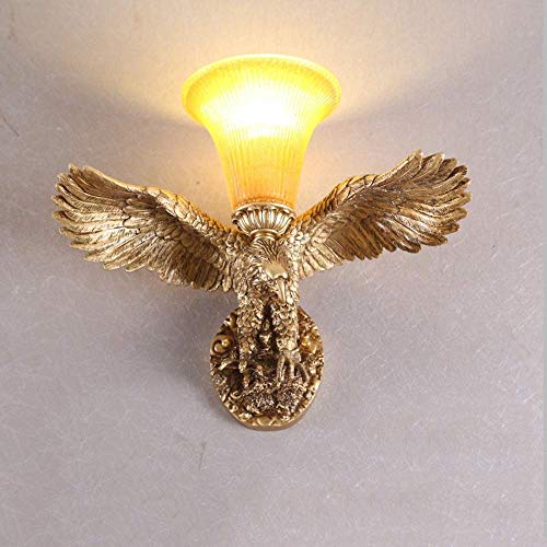 - DWLXSH Retro Flying Eagle Wall Lamp European Style Resin Creative Wall Light Personality Stairs Bar Hotel Sconce Living