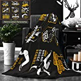 Unique Custom Double Sides Print Flannel Blankets Set Of Breakdance Bboy Silhouettes In Different Poses Collection Logo And Badges Hip H Super Soft Blanketry for Bed Couch, Twin Size 80 x 60 Inches