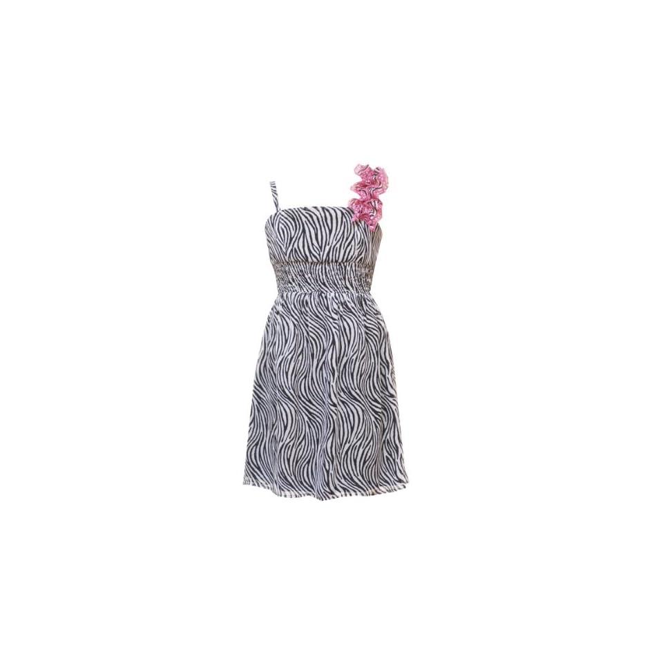 Rare Editions Girls 7 16 Zebra Print Chiffon Dress