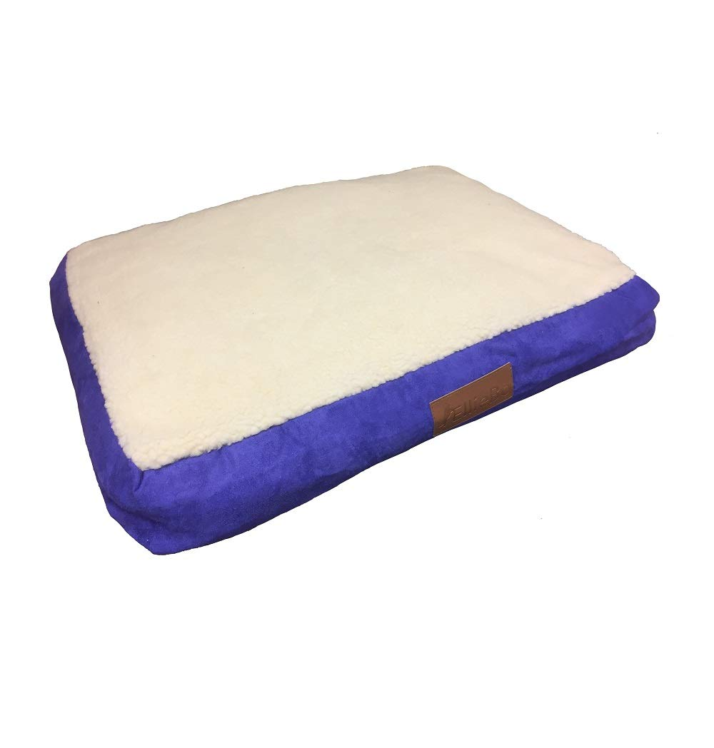 Ellie-Bo Dog Bed with Faux Suede and Sheepskin Topping for Dog Cage  Crate Small 24-inch bluee