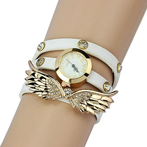 2014 Susenstore Vintage Leather Strap Angel Wings Rivet Bracelet Watches Wristwatch (White)