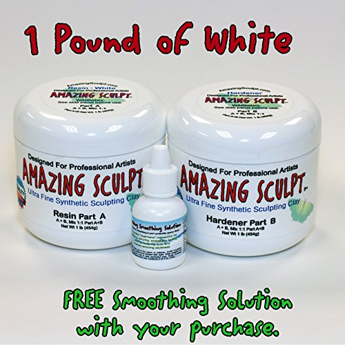 Amazing Sculpt 1 lb White 2-Part Modeling Clay for Sculptors. USA Made. by Unbridled