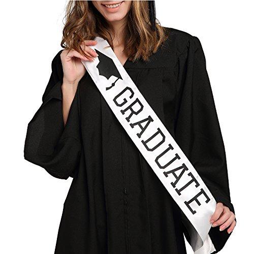 Graduate Sash - Graduation Sash - Graduation Party Supplies - White Unisex Satin Sash