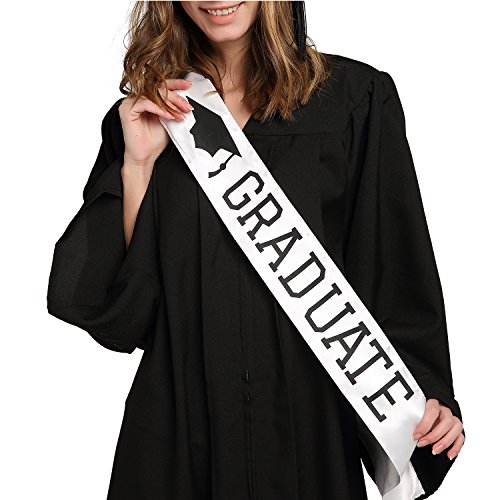 Graduate Sash - Graduation Sash - Graduation Party Supplies - White Unisex Satin (Easy Family Costumes Ideas)