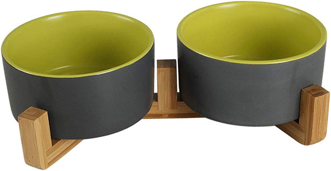 Ceramic Elevated Dog Cat Bowls - No Spill Pet Bowls,Raised Double Food and Water Bowl Set for Cats and Small Medium Dogs with Wood Stands,Soup Noodle Bowl,Safe & Easy to Clean Grey Green