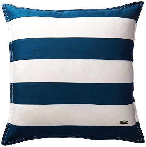 Lacoste Brushed Twill Stripe 18x18 Throw Pillow, Poseidon