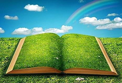 OFILA Magic Books Backdrop 9x6ft Nature Green Meadow Floret Fantasy Rainbow Blue Sky Newborn Baby Photography