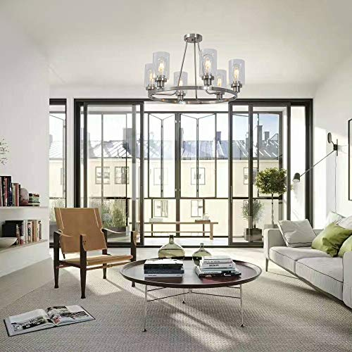MELUCEE 6-Light Brushed Nickel Round Chandelier with Clear Glass Shade, Semi Flush Mount Ceiling Light Island Lighting for Dining Room Living Room Bedroom UL Listed by MELUCEE (Image #3)