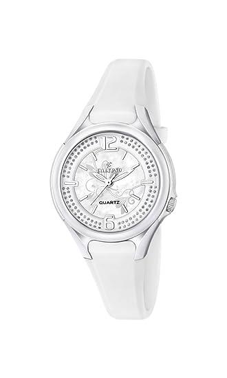Calypso - Reloj de Cuarzo para Mujer con Correa de plástico de Plata Esfera analógica Pantalla y Blanco k5575/1: Amazon.es: Relojes