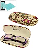 JAVOedge Beige Owl Fabric Print Eyeglass Clam Shell Style Case with Bonus Mircofiber Cleaning Cloth