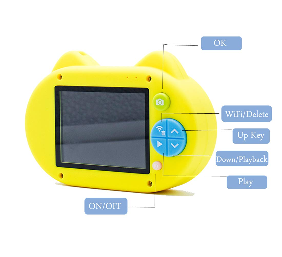 ISHOWStore Mini WiFi Camera for Children HD 8MP External SD Card Digital Video Shakeproof Camcorder for Children with Free 16G Memory Card 82x58x31mm (Yellow Owl) by ISHOWStore (Image #2)