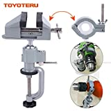 TOYOTERU 360° Bench Clamp Vises Grinder Holder Drill Stand for Rotary Tool,Craft,Model Building,Electronics,Hobby and Jewelry Making and Metal Work