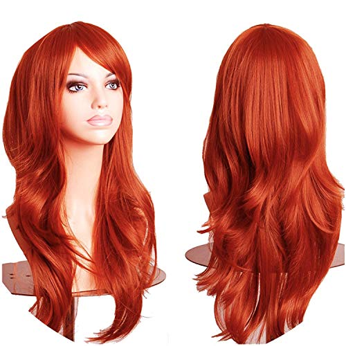 58CM Loose Wave Synthetic Wigs for black women Cosplay wig Blonde Blue Red Pink Grey Purple for halloween wig party,orange,23inch,United -