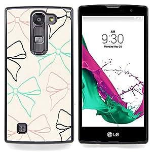 """For LG G4c Curve H522Y ( G4 MINI , NOT FOR LG G4 ) Case , Bow lazo del modelo beige del trullo Brown Negro"""" - Diseño Patrón Teléfono Caso Cubierta Case Bumper Duro Protección Case Cover Funda"""