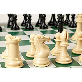 Quadruple Weight Tournament Chess Game Set - Chess Board Game with Natural Chess Pieces and Green Vinyl Board