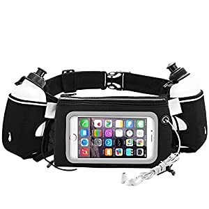 iRainy Neoprene Water-Proof Hydration Running Belt W Touchscreen Zipper Pockets Fitness Workout Belt with Two 12oz BPA-Free Leak-Proof Water Bottles Belt Fits All Smartphones (Black)