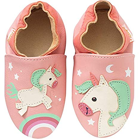 acheter en ligne 68ba4 7954d Tichoups chaussons bébé cuir souple laura la licorne