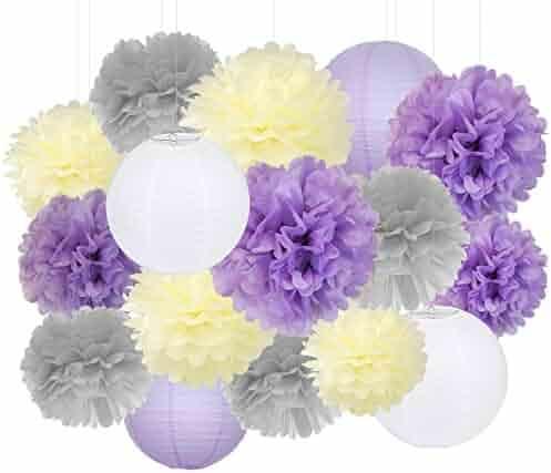 04dc743d3679 Furuix Purple Wedding Shower Decorations 16pcs Cream Lavender Grey Purple  10inch 8inch Tissue Paper Pom Pom