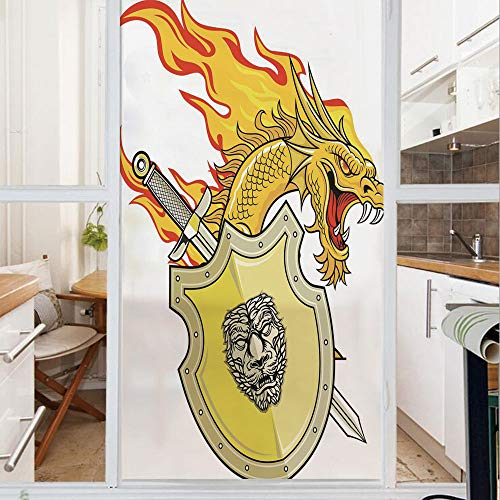 Decorative Window Film,No Glue Frosted Privacy Film,Stained Glass Door Film,Legendary Creature with Royal Shield Sword Hero Knight Medieval Print,for Home & Office,23.6In. by 59In Marigold Pistachio G