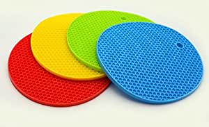CookEasy Premium Silicone Pot Holders - Heat-Resistant Silicone Kitchen Tools Utensils – Yellow, Green Blue, Cherry Red - 4 Pack