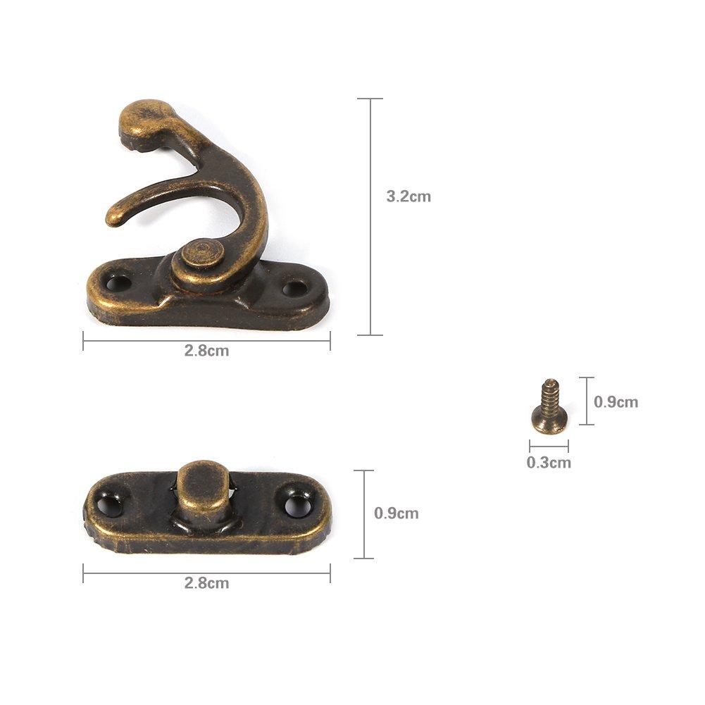 12X Antike Links//Rechts Latch Hook Hasp Horn Lock mit Schrauben Dekorative Schmuck Geschenk Wein Holzkiste Left hook-Bronze