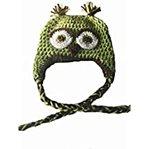 Sweet Lullabiez Handmade Sweet Pea Green & Brown Owl Size 4T-5T / Hat Cloche Gorro
