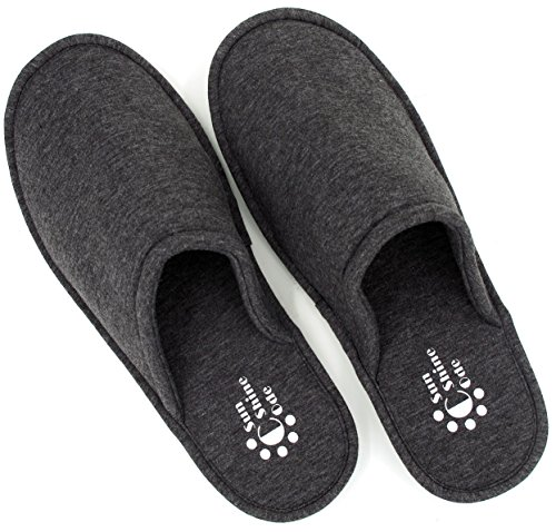 Sunshine Code Women's Memory Foam Cotton Washable Slippers With Matching Travel Bag For Home Hotel Spa Bedroom, L, Black
